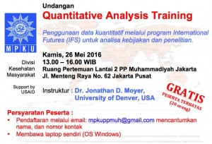 Pelatihan Quantitative Trend Data Analysis, 26 Mei 2016